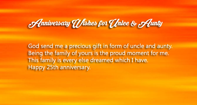 Anniversary wishes for Uncle and aunty