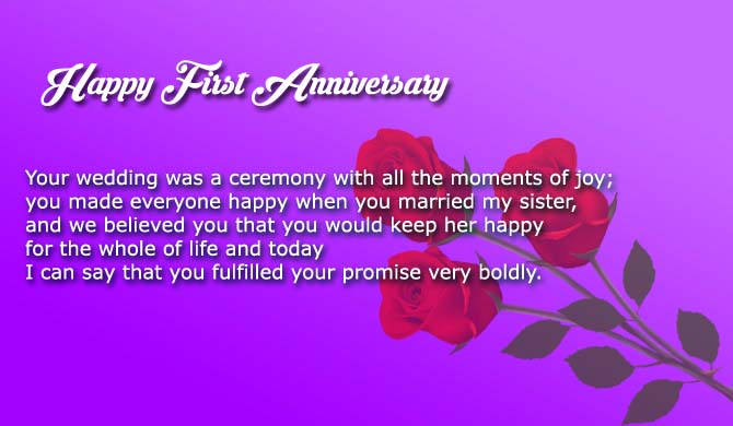 First Wedding Anniversary Wishes To Sister And Brother In Law Wishes4lover