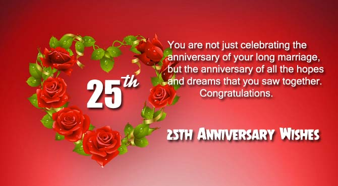 25th Anniversary Wishes for Parents