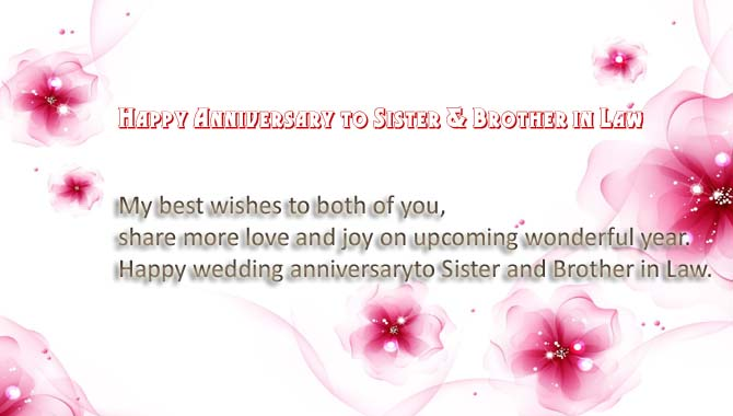 Anniversary Wishes Messages for Sister & Brother in Law