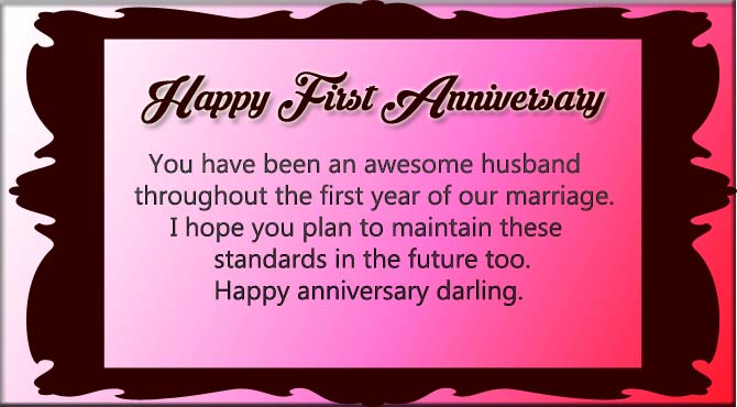 Hy First Wedding Anniversary Message To My Husband