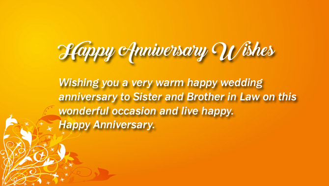 Happy Wedding anniversary for Sister & Brother in Law