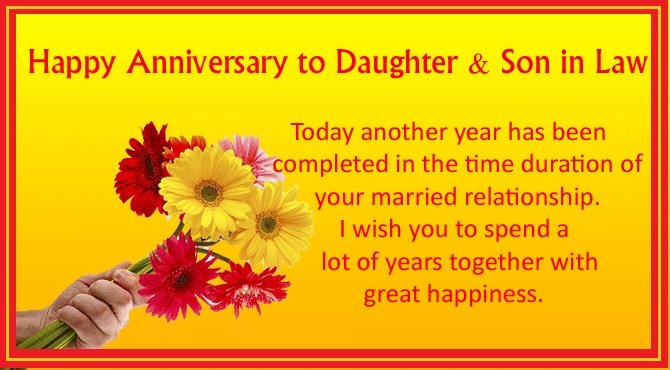 Happy anniversary to daughter and son in law wishes lover