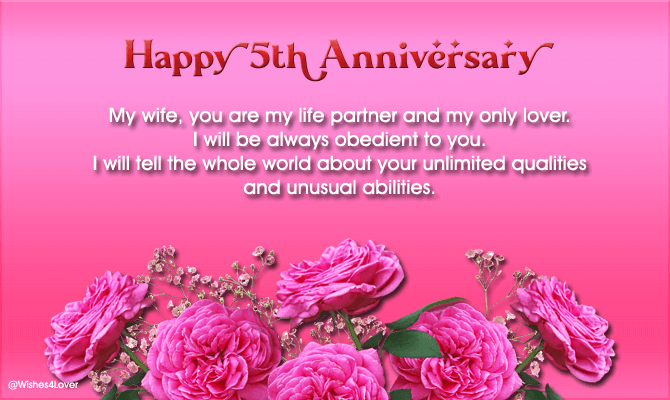 5th Marriage Anniversary Wishes to my Wife