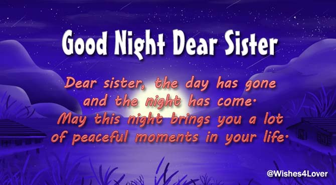 Good Night Messages for Sister